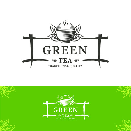 restaurante: Molde verde design de logotipo chá vector. O sinal está no estilo chinês ou japonês para cafés, lojas e restaurantes.