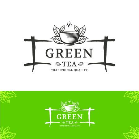 taza de te: Vector verde del t� plantilla de dise�o del logotipo. El signo es en el estilo chino o japon�s para cafeter�as, tiendas y restaurantes.