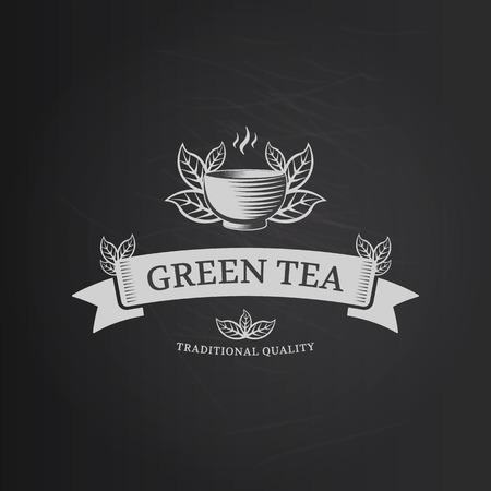 Green tea vector logo design template. Engraving sign for tea shop or cafe.