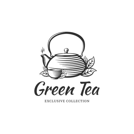 Tea logo design template for cafe, shop, restaurant. Kettle and bowl in the style of engraving.