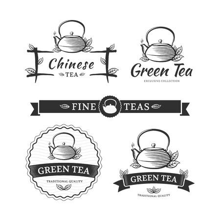 Green tea logos. Vector set labels for tea shop or cafe. Ilustracja