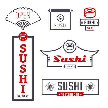 Sushi set of signs. Vector logo and emblems for sushi bar. Outdoor advertising