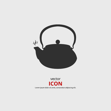 chinese tea pot: Teapot icon vector illustration. Black silhouette kettle