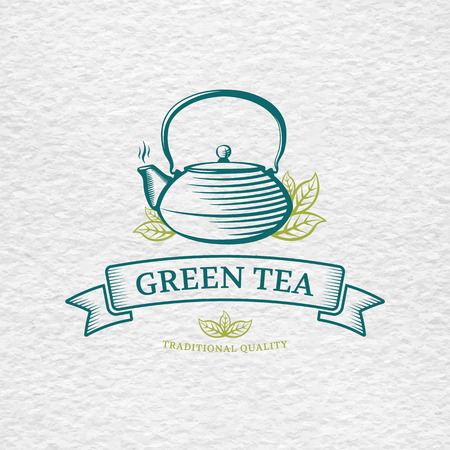 green banner: Tea logo template and design element for tea shop, restaurant, on watercolor paper background texture. Teapot vector illustration.