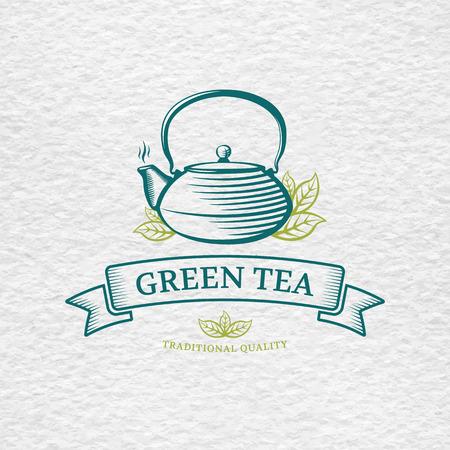 Thee logo template en design element voor thee winkel, restaurant, op aquarelpapier achtergrond textuur. Theepot vector illustratie. Stock Illustratie