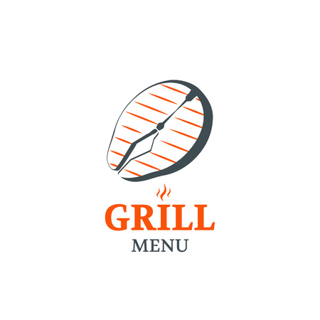 salmon steak: Fish grill menu vector template . Salmon steak illustration