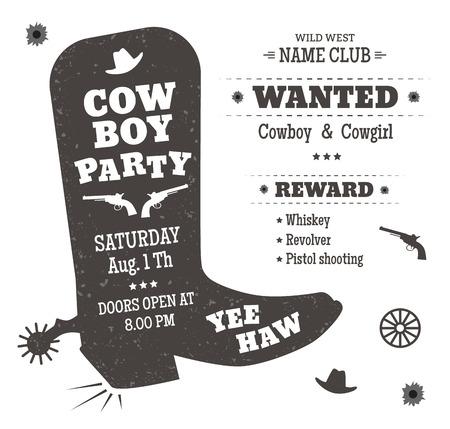 Cartel del partido del vaquero o invitación en estilo occidental. Las botas de vaquero silueta con el texto. Ilustración vectorial