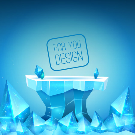 Ice studio for the presentation of your design. Crystals, ice block vector illustration. Free space for text or object
