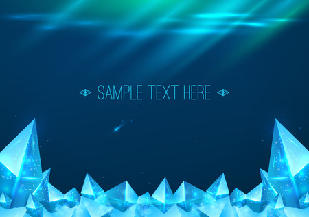 Northern Lights background with ice crystals. Free space for text. Vector illustration