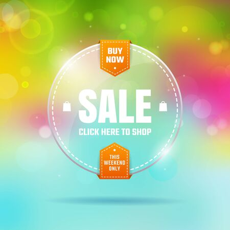 glass badge: Glass transparent badge sale. On a color background with bokeh. Vectores