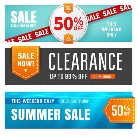 Set van verkoop banners ontwerp. Vector illustratie Stock Illustratie