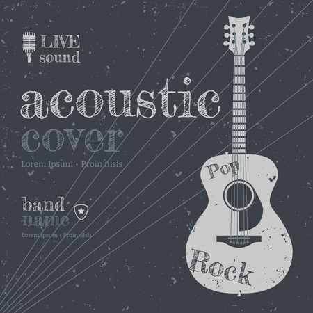 lead guitar: Acoustic concert show poster with acoustic guitar vector illustration