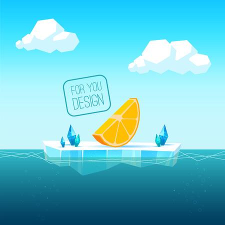 あなたのデザインのプレゼンテーションのための海での流氷。テキストまたはオブジェクトの空き領域。海、雲、氷の結晶。例としてオレンジ