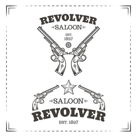 saloon: Saloon revolver vector logo template