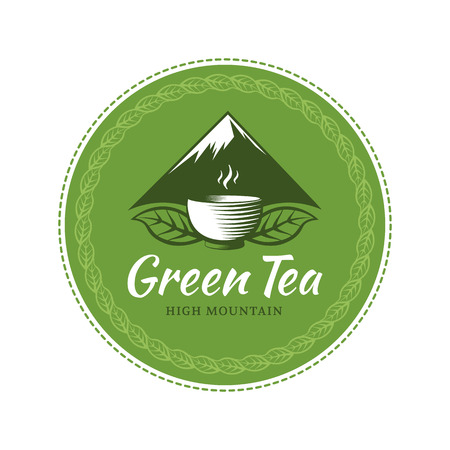 Green tea circle label