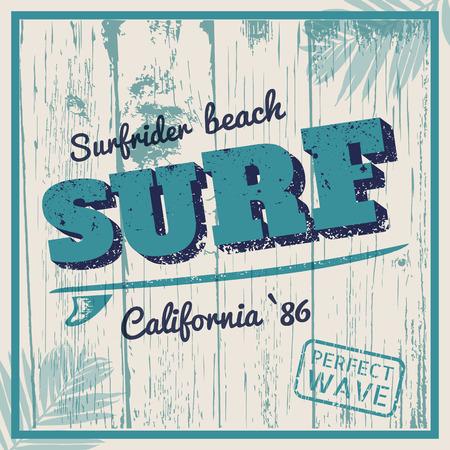 California Surf typographie avec planche de surf Banque d'images - 43999086