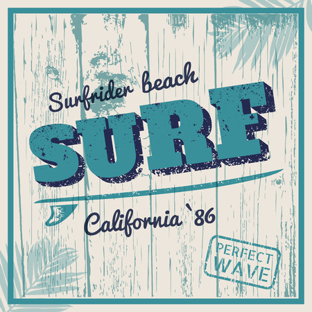 California surf typography with surfboard