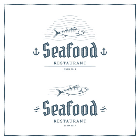 Seafood restaurant logo template. Vector logo for the fish menu. Ilustracja