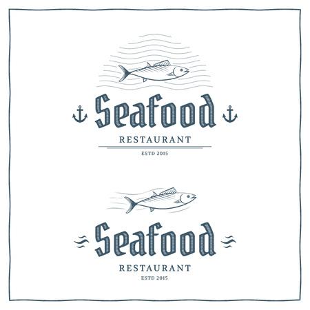 restaurant food: Seafood restaurant logo template. Vector logo for the fish menu. Illustration