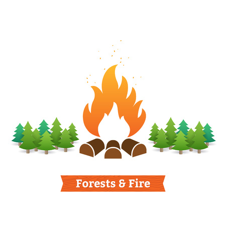 ecological damage: Forests and fire vector illustration. Protect forests from fire.
