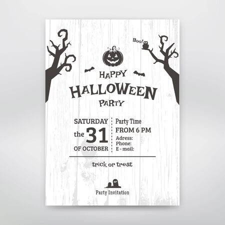 Black and white Halloween party vintage invitation. Vector