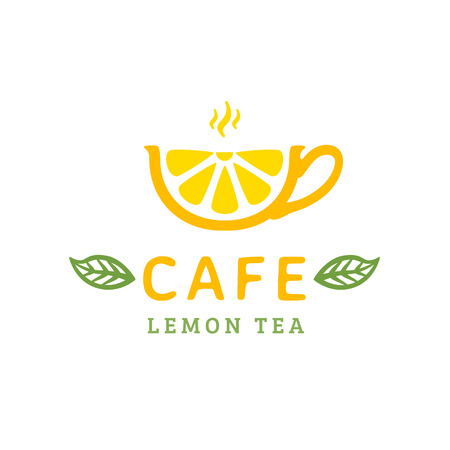 leaf logo: Cafe logo design. Cup lemon tea. Vector illustration Illustration