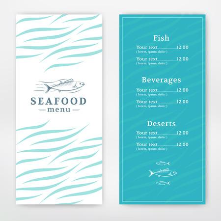 シーフード レストランやカフェのメニューのデザイン。ベクトル テンプレート  イラスト・ベクター素材