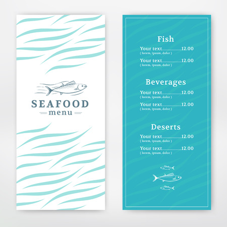 Seafood menu design for restaurant or cafe. Vector template