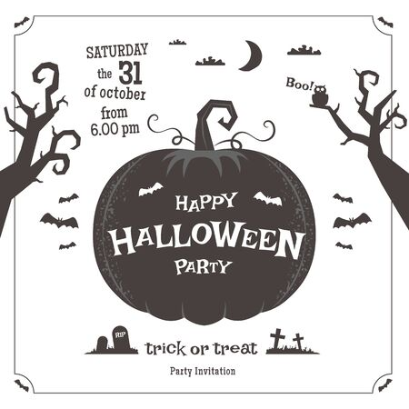 gothic design: Happy Halloween party poster. Black and white vector illustration