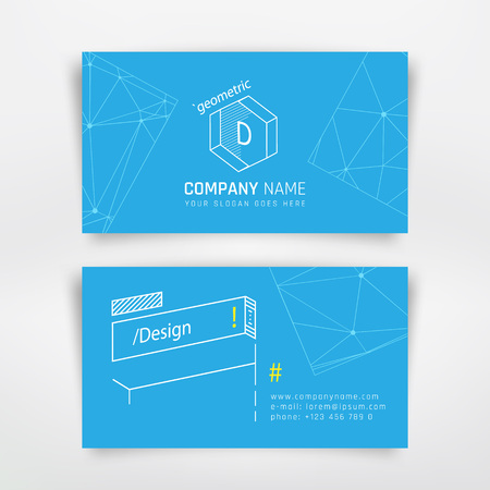 corporation: Business visit card template with geometric elements. Design for corporation brand company or graphic designer Illustration