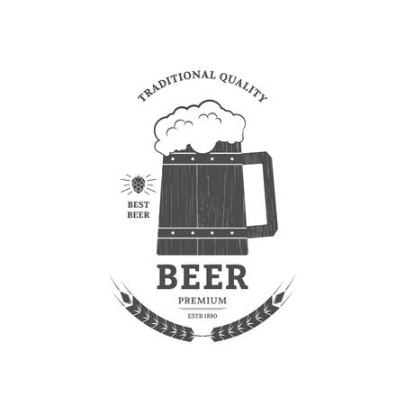 chope biere: Beer mug vintage logo or label design. Illustration