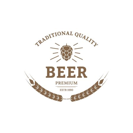 the brewer: Beer logo design template. Vintage label for brewer company