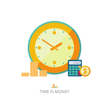 reserves: Time is money concept illustration. Vector flat style