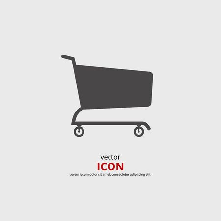 supermarket trolley: Shopping cart vector icon. Black silhouette  illustration