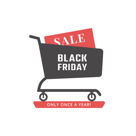 red black: Black friday sale icon. Shopping cart. Vector
