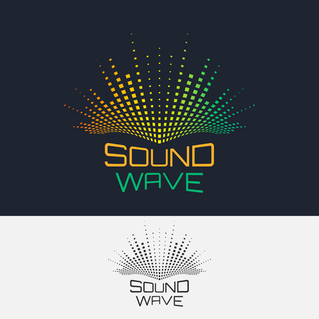 sonido: Ondas de sonido, vector logo plantilla de diseño. Ecualizador moderno abstracto.