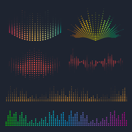 Vector sound waves set. Music colorful elements for your design. Vettoriali