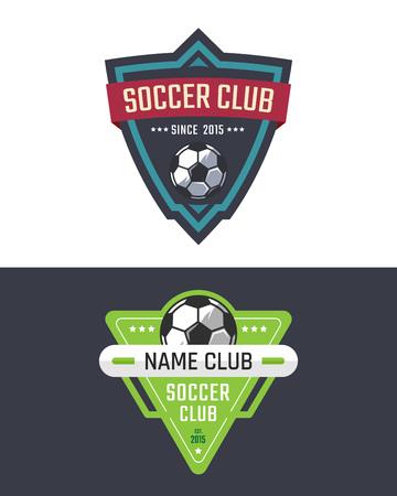 Soccer club logo template. Vector sport emblem Illustration