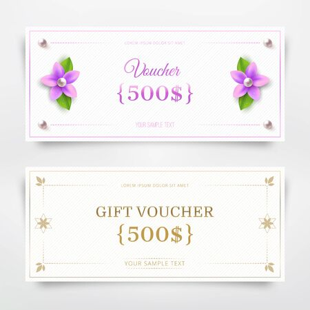 fluted: Gift voucher, coupon design template. Vector illustration