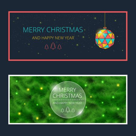 christmas postcard: Merry Christmas cards or banners set design. Vector illustration