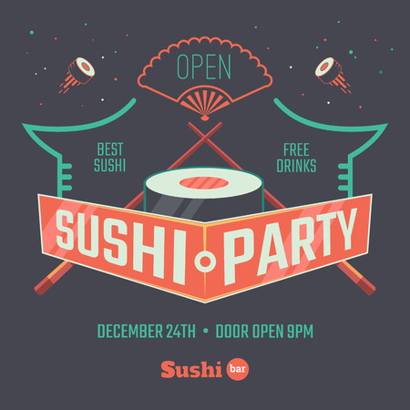 Sushi poster for the bar or restaurant. Vector illustration