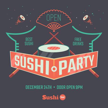 japanese cuisine: Sushi poster for the bar or restaurant. Vector illustration