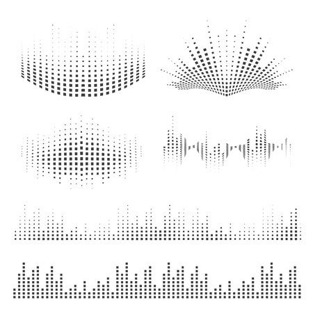 ondas de sonido conjunto de vectores. Elementos de la música para su diseño. Ilustración de vector