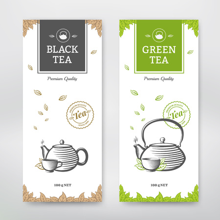 tazza di te: Pacchetto Tè design nero e verde. Vector set Vettoriali