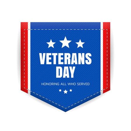 Veterans day banner or badge. Vector illustration.