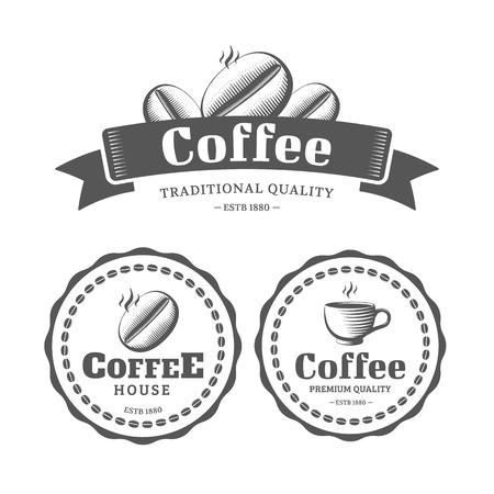 chicchi di caff?: Caffè logo ed etichette stile vintage. Illustrazione vettoriale