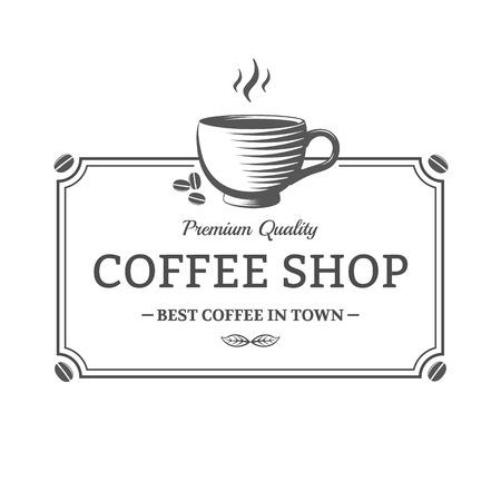 taza cafe: la vendimia del vector Cafetería señal. Emblema para tienda, café