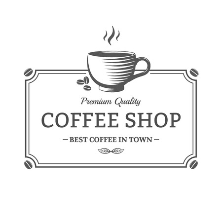 coffee cup: Vector vintage Coffee Shop sign. Emblem for shop, cafe Illustration