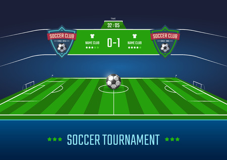 Soccer field in horizontal perspective with scoreboard. Vector illustration