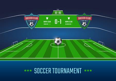 Voetbalveld in horizontale perspectief met scorebord. Vector illustratie Stock Illustratie
